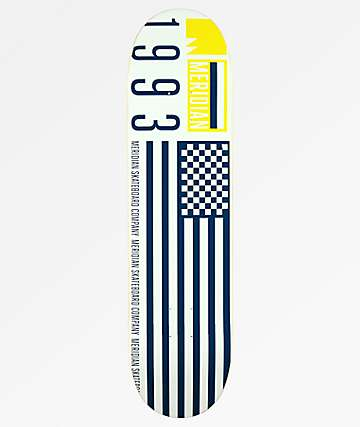 "Meridian Skateboards Flag 93 8.0"" White Skateboard Deck"