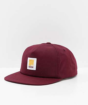 Meridian Skateboards Flag Burgundy Snapback Hat