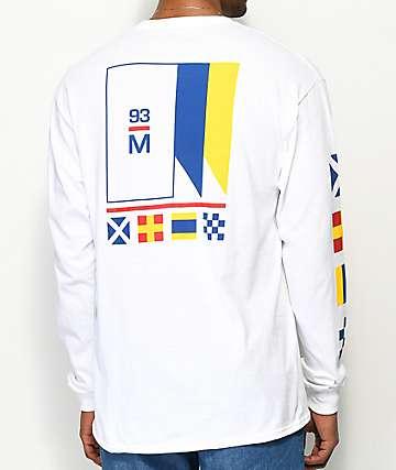 Meridian Skateboards Flagged White Long Sleeve T-Shirt