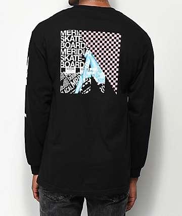 Meridian Skateboards Leg Check camiseta negra de manga larga