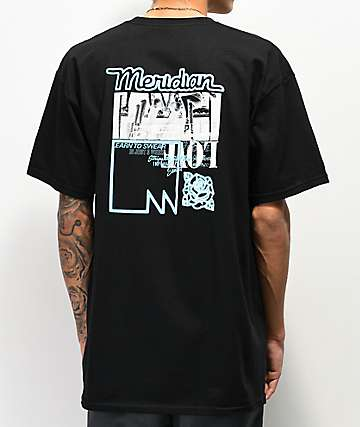 Meridian Skateboards Peeps Black & Neon Blue T-Shirt