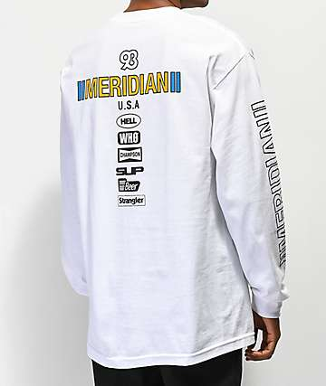 Meridian Skateboards Race Day camiseta blanca de manga larga