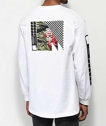 Meridian Skateboards Rose Camo camiseta blanca de manga larga