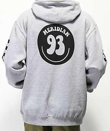 Meridian Skateboards Smile 93 sudadera con capucha gris