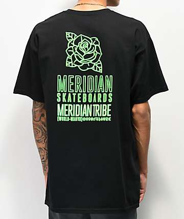 Meridian Skateboards Tribe Black & Neon Green T-Shirt
