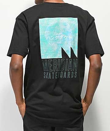 Meridian Skateboards We Hang Out camiseta negra
