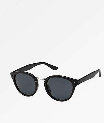 Metal Bridge Round Black Sunglasses