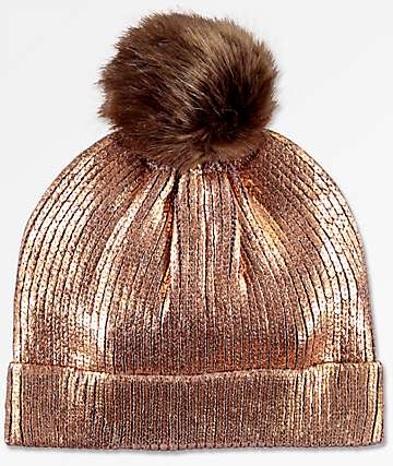 Metallic Rose Gold Faux Pom Beanie