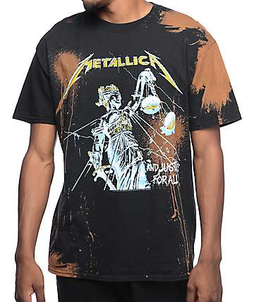 Metallica Justice Bleached Black T-Shirt