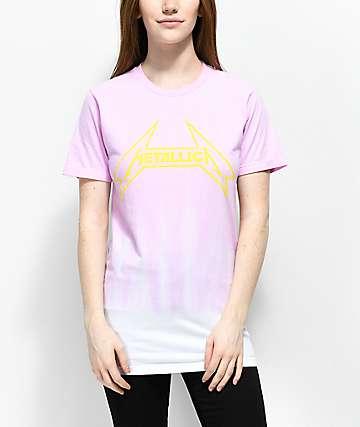 Metallica Ombre camiseta rosa con efecto teñido