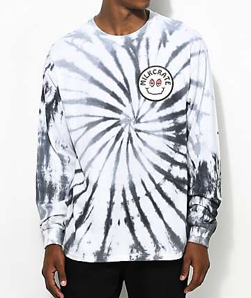 Milkcrate Smiles Faded Long Sleeve Grey Tie Dye T-Shirt
