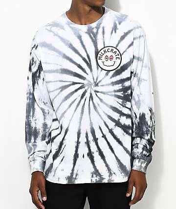 Milkcrate Smiles Faded Long Sleeve Grey Tie Dye T-Shirt