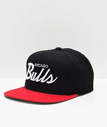 Mitchell & Ness Bulls Black & Red Snapback Hat