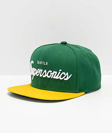 2841f2846ac Mitchell   Ness Sonics Green   Yellow Snapback Hat