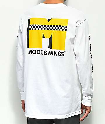 Moodswings Checkered Cab Logo White & Yellow Long Sleeve T-Shirt