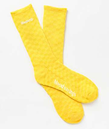 Moodswings Chess Yellow Crew Socks