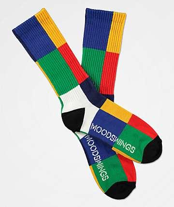 Moodswings Color Blocker Green, Blue & Red Crew Socks