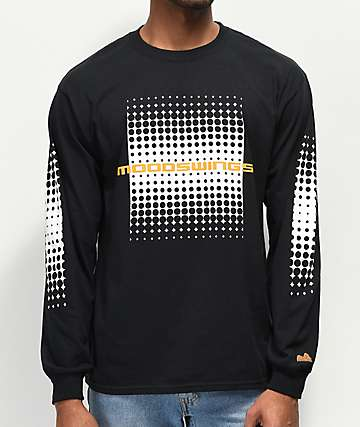 Moodswings Half Tones Black Long Sleeve T-Shirt