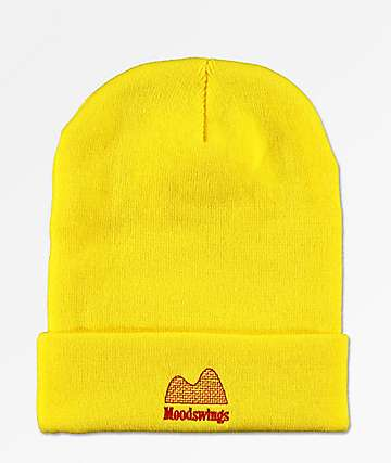 Moodswings Ups & Downs Yellow Foldover Beanie