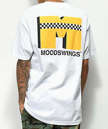 Moodswings Yellow Cab Checkerboard White T-Shirt