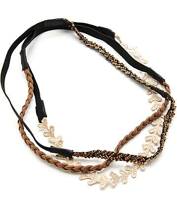 Multipack Gold Lace, Brown Braid & Beaded Headbands