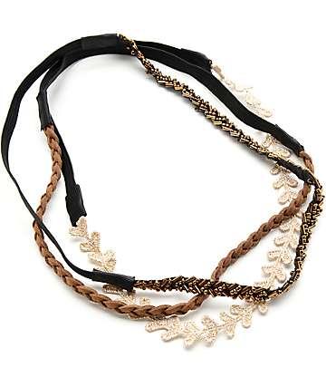 Multipack Gold Lace, Brown Braid & Beaded banda de cabellos