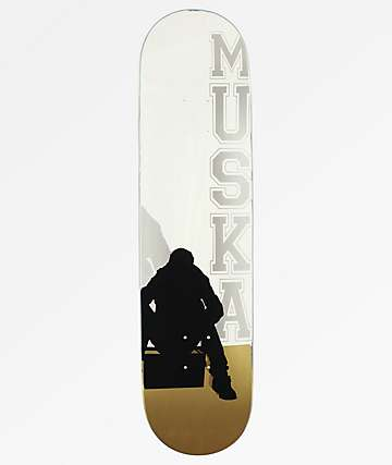 """Muska Boombox Silver & Gold 8.0"""" Skateboard Deck"""