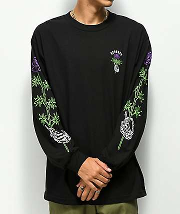 N°Hours Long Stem Black Long Sleeve T-Shirt