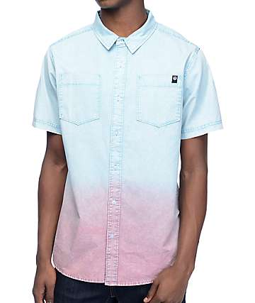 Neff Coast Teal Dip Dye Short Sleeve Button Up Shirt