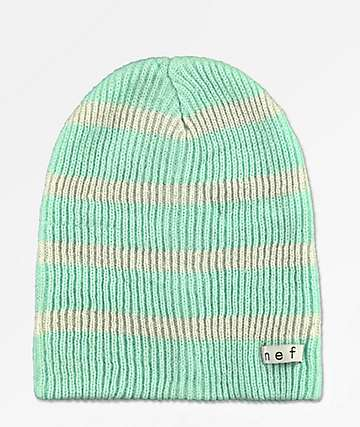 Neff Daily Mint & White Sparkle Striped Beanie