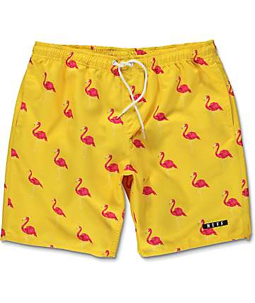 Neff Facets Flamingo board shorts en color amarillo