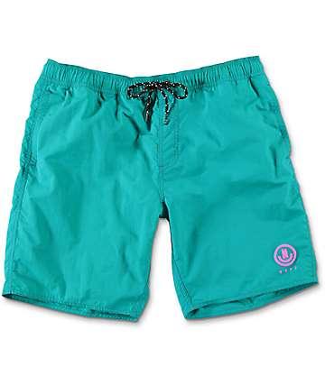 """Neff Neon Teal Nylon 19"""" Board Shorts"""