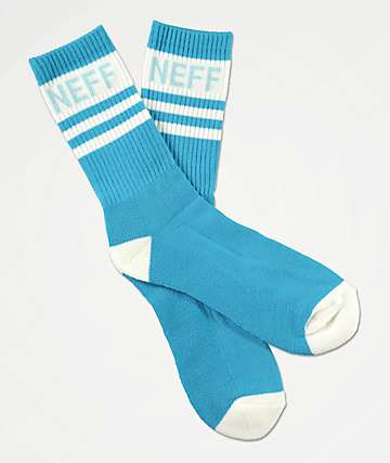 Neff Promo Cyan & White Crew Socks