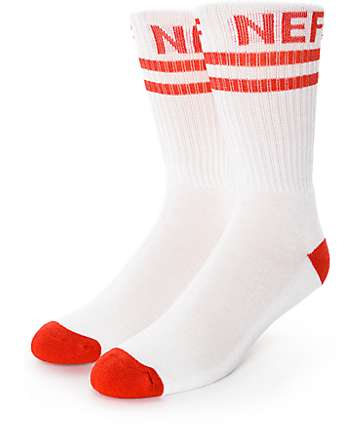 Neff Promo White & Red Crew Socks