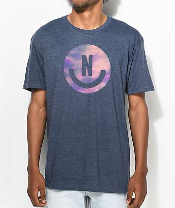 Neff Smiley Logo Heather Navy T-Shirt