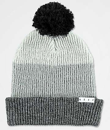 Neff Snappy Grey, Charcoal & Black Pom Beanie