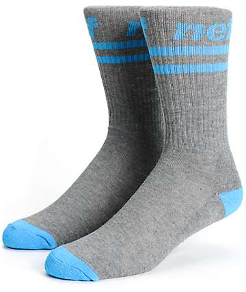 Neff Stripe Grey & Cyan Crew Socks