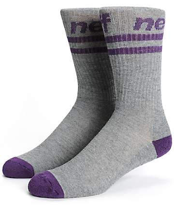 Neff Stripe Grey & Purple Crew Socks
