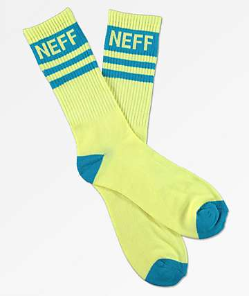 Neff Stripe Lemonade & Cyan Crew Socks