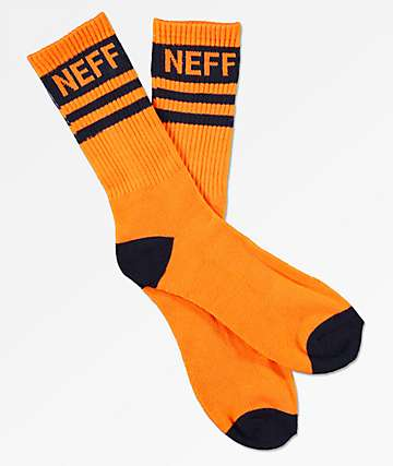 Neff Stripe Orange & Navy Crew Socks