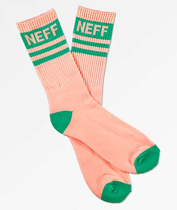 Neff Stripe Peach & Teal Crew Socks