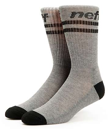 Neff Two Stripes Charcoal & Black Crew Socks