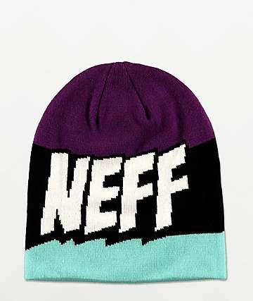 Neff Yeah Purple, Black & Teal Beanie