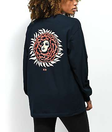 Never Made Bloom Lotus Navy Long Sleeve T-Shirt