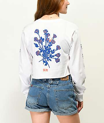 Never Made Charming White Long Sleeve Crop T-Shirt
