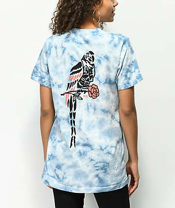 Never Made Death Parrot Blue Tie Dye T-Shirt