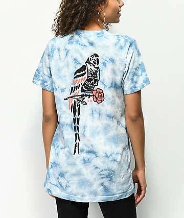 Never Made Death Parrot Blue Tie Dye T-Shirt