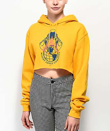 Never Made Misery Loves Company Gold Crop Hoodie