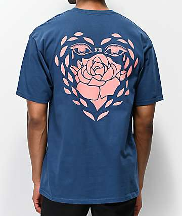 Never Made Rose Heart Blue T-Shirt