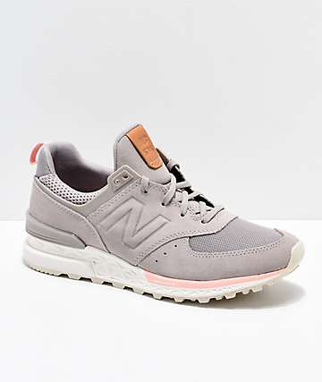 New Balance Lifestyle 574 Sport Flat White & Himalayan Pink Shoes